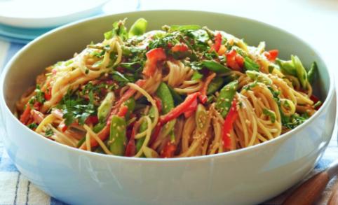 Sesame Pea Pod Noodle Salad